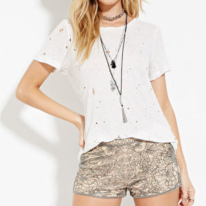Nude Floral Beaded Mesh Shorts